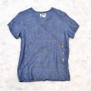 Flax linen faux wrap tunic blouse